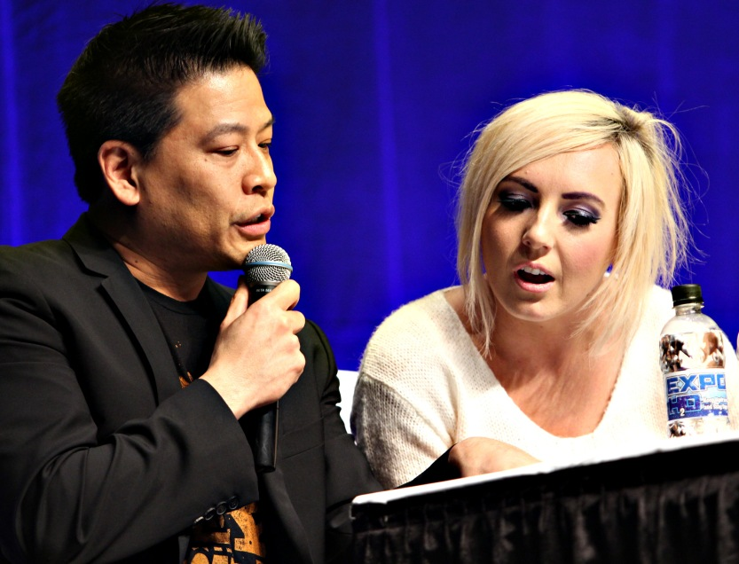 Garrett Wang and Jessica Nigri compare notes during the contest competition at the Edmonton Comic and Entertainment Expo 2014.